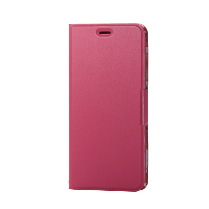 iPhone XS Max ケース ソフトレザー薄型手帳型ケース 磁石付 フラワー/ディープピンク iPhone XS Max_0