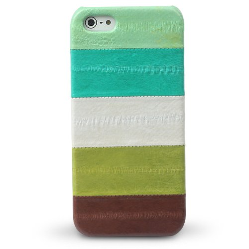iPhone SE/5s/5 ケース iPhone5 Prestige Eel Leather Bar  Multi Green_0