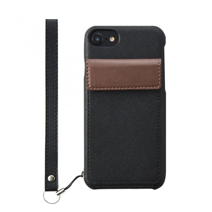 【iPhone8ケース】simplism NUNO BackPack バックカバーカードケース ブラック iPhone 8_0
