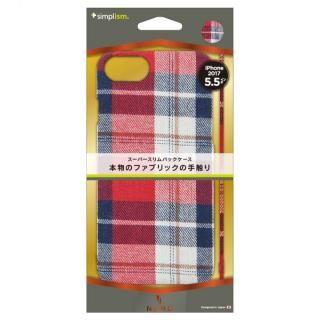 【iPhone8 Plusケース】simplism NUNO ファブリックケース レッドチェック iPhone 8 Plus_1