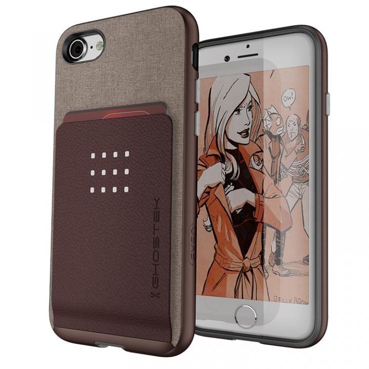 iPhone8/7 ケース カードクリップ付タフケース エグゼク2 ブラウン iPhone 8/7_0