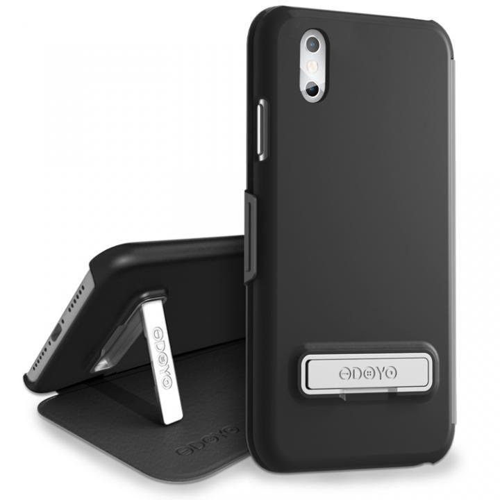 【iPhone Xケース】カードスロット・キックスタンド付 キックフォリオ セサミブラック iPhone X_0