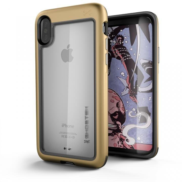 【iPhone Xケース】アルミ合金製スリムケース アトミックスリム ゴールド iPhone X_0