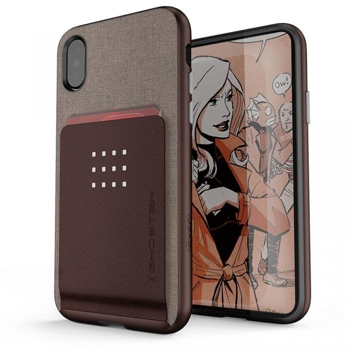 カードクリップ付タフケース エグゼク2 ブラウン iPhone X