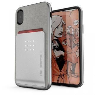 カードクリップ付タフケース エグゼク2 シルバー iPhone X