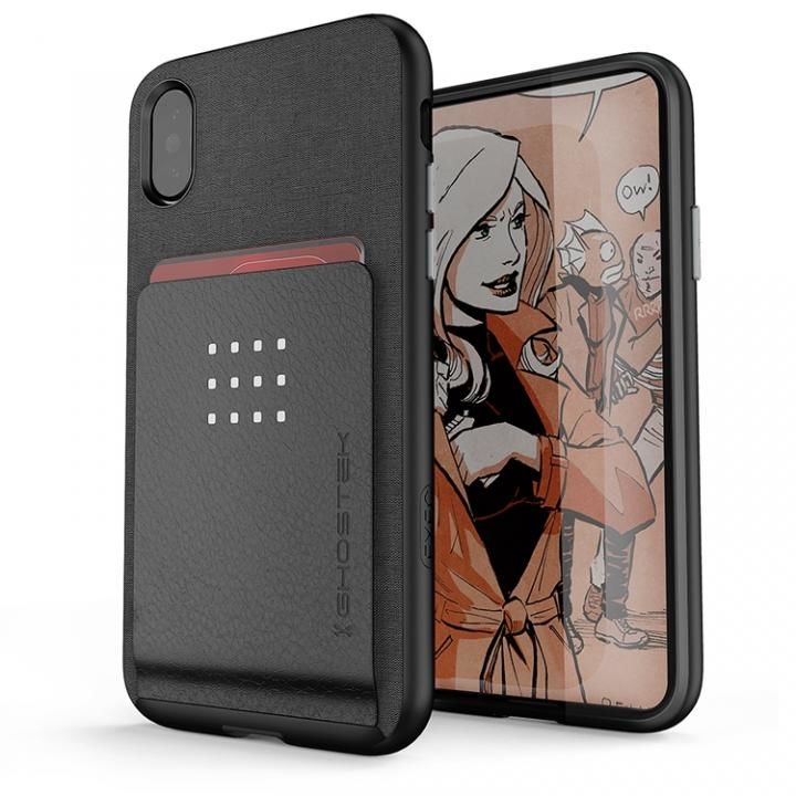 カードクリップ付タフケース エグゼク2 ブラック iPhone X【10月上旬】