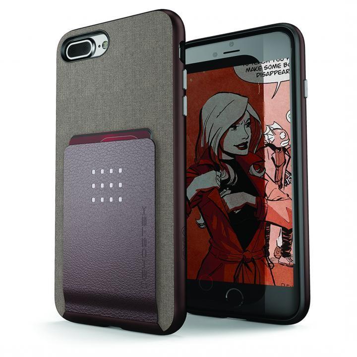 カードクリップ付タフケース エグゼク2 ブラウン iPhone 8 Plus/7 Plus