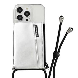 iPhone 13 Pro ケース RODEOCROWNS ロングストラップ&収納ポケット付き背面ケース TPUクリア シルバー iPhone 13 Pro