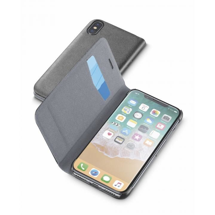 【iPhone Xケース】Cellularline Book Essential 手帳型ケース ブラック iPhone X_0