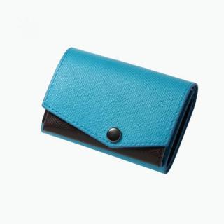 小さい財布 abrAsus(アブラサス) ターコイズ×チョコ