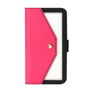 【iPhone XS Maxケース】Premium Style ダブル手帳型ケース スクエア型ポケット ピンク iPhone XS Max_1