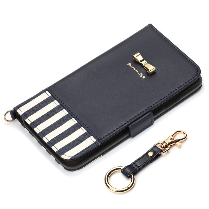 Premium Style 手帳型ケース ストライプリボン ネイビー iPhone XS Max【9月下旬】