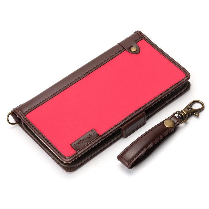 iPhone XS/X ケース Premium Style 手帳型ケース ナイロン生地 ピンク iPhone XS/X_0
