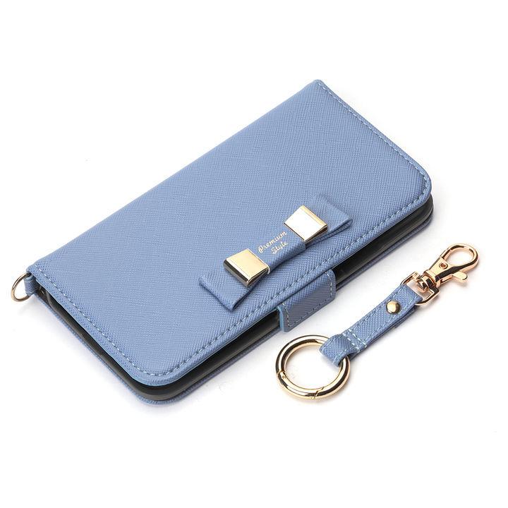 iPhone XS/X ケース Premium Style 手帳型ケース ダブルリボン ブルー iPhone XS/X_0