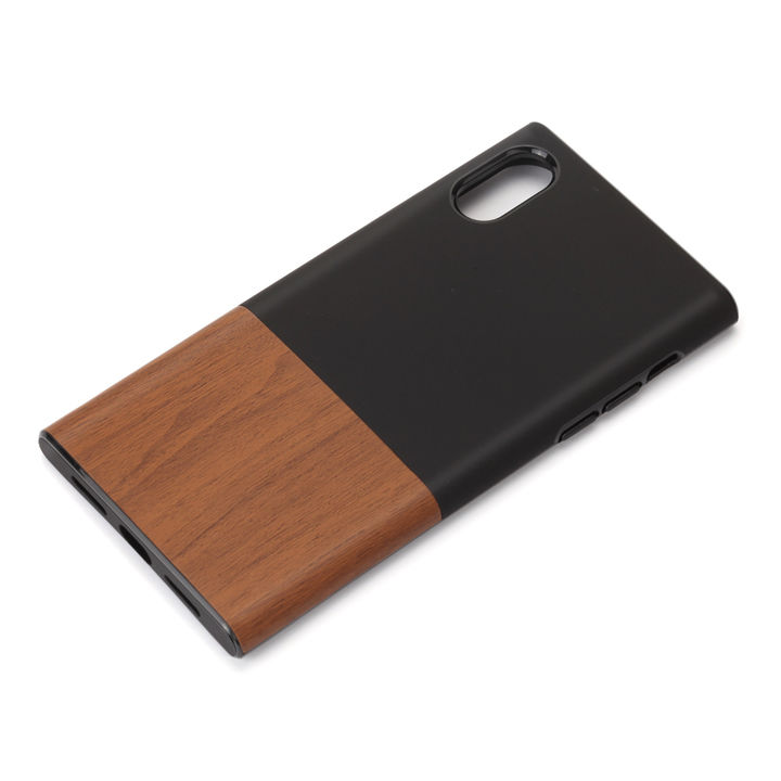 【iPhone XS/Xケース】Premium Style ハイブリッドタフケース ウッド調/ブラック iPhone XS/X_0