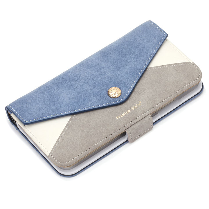 iPhone XS Max ケース Premium Style ダブル手帳型ケース レター型ポケット ブルー iPhone XS Max_0