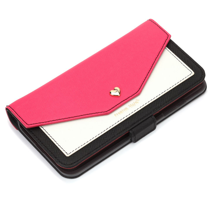 【iPhone XS Maxケース】Premium Style ダブル手帳型ケース スクエア型ポケット ピンク iPhone XS Max_0