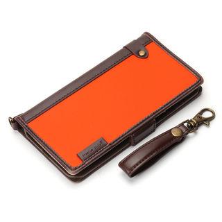 【iPhone XS/Xケース】Premium Style 手帳型ケース ナイロン生地 オレンジ iPhone XS/X