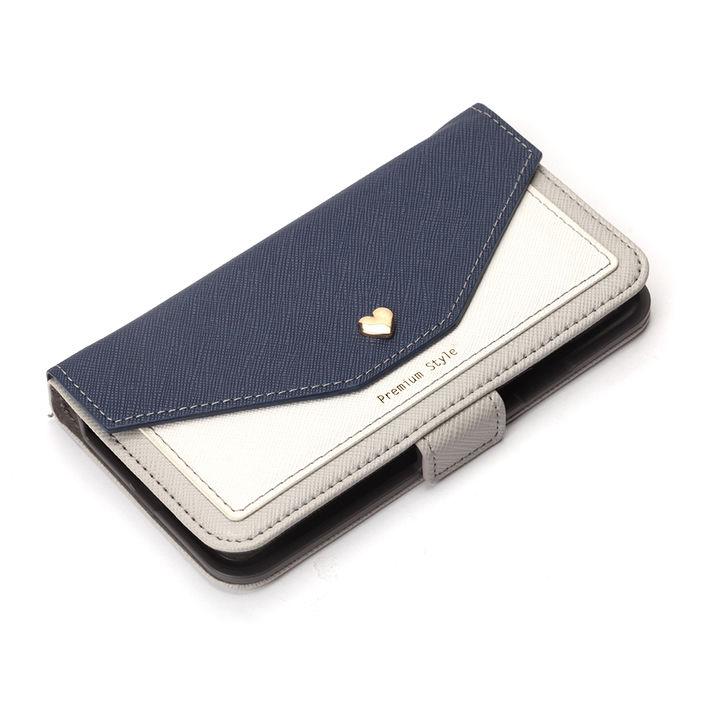 iPhone XS/X ケース Premium Style 手帳型ケース スクエア型ポケット ネイビー iPhone XS/X_0