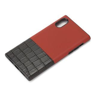 iPhone XS/X ケース Premium Style ハイブリッドタフケース クロコダイル調/レッド iPhone XS/X