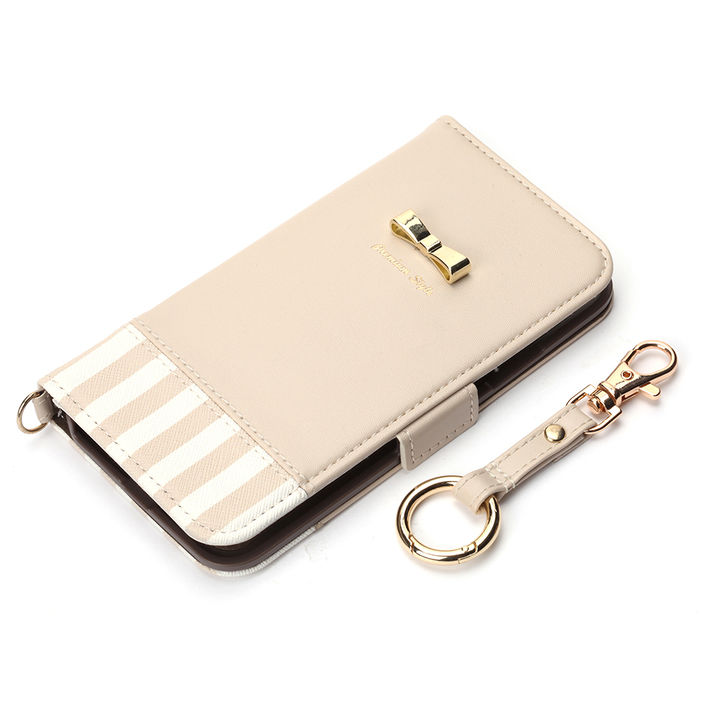 iPhone XS/X ケース Premium Style 手帳型ケース ストライプリボン ホワイト iPhone XS/X_0
