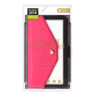 【iPhone XS Maxケース】Premium Style ダブル手帳型ケース スクエア型ポケット ピンク iPhone XS Max_2
