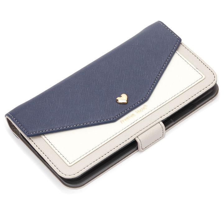 【iPhone XS Maxケース】Premium Style ダブル手帳型ケース スクエア型ポケット ネイビー iPhone XS Max_0