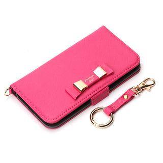 【iPhone XS/Xケース】Premium Style 手帳型ケース ダブルリボン ホットピンク iPhone XS/X
