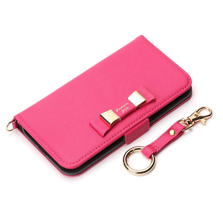 iPhone XS/X ケース Premium Style 手帳型ケース ダブルリボン ホットピンク iPhone XS/X_0