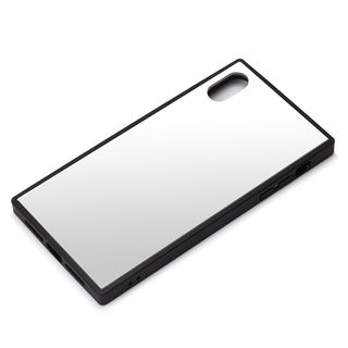 【iPhone XRケース】Premium Style ガラスハイブリッドケース シルバー iPhone XR