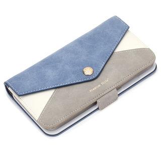 【iPhone XS Maxケース】Premium Style ダブル手帳型ケース レター型ポケット ブルー iPhone XS Max