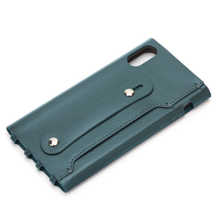 iPhone XR ケース Premium Style PUレザーケース グリップバンド付き グリーン iPhone XR_0