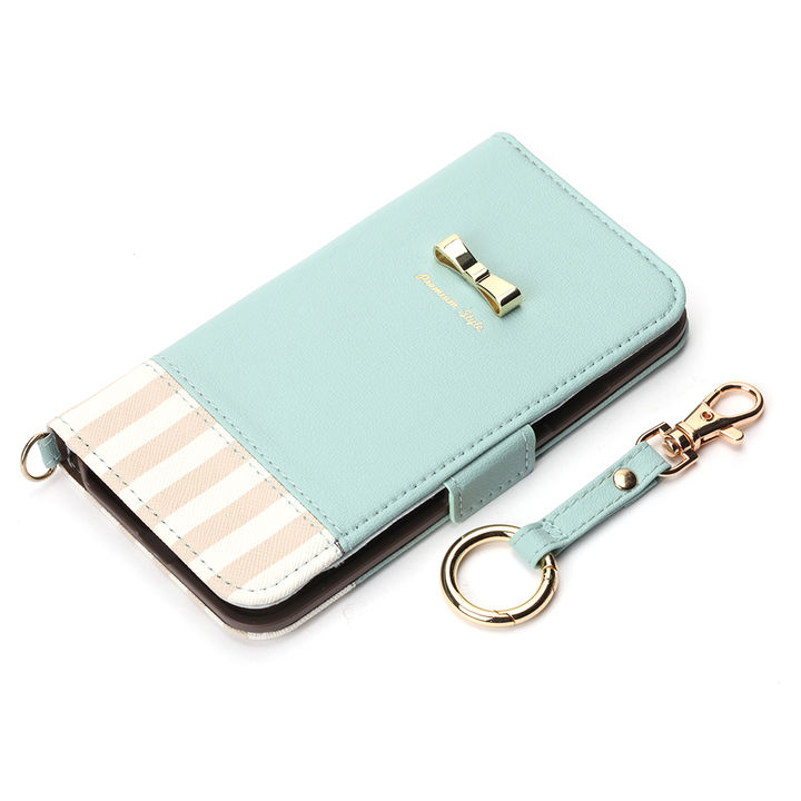 iPhone XS/X ケース Premium Style 手帳型ケース ストライプリボン ブルー iPhone XS/X_0