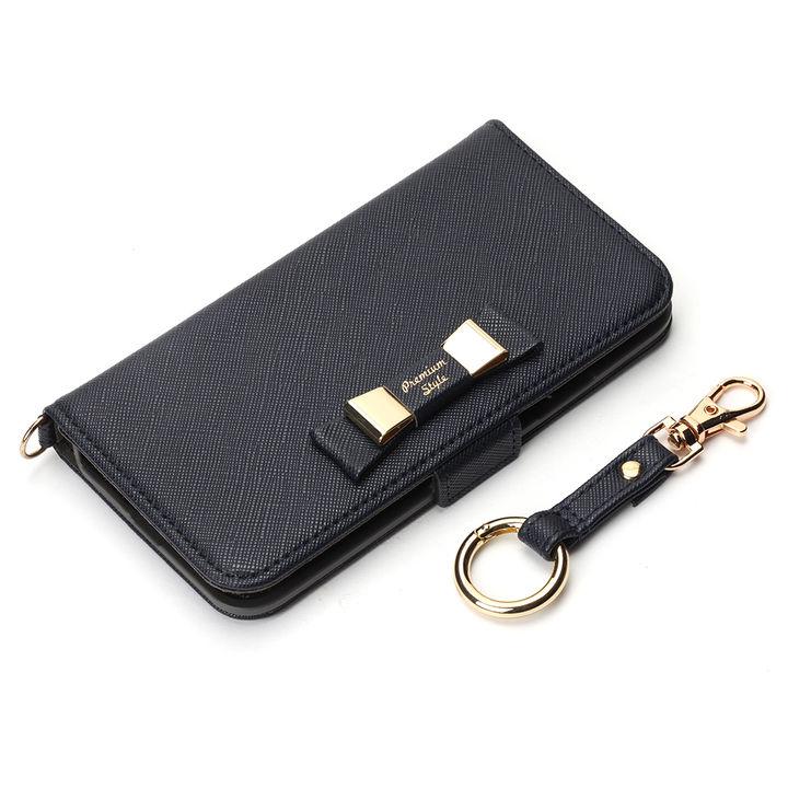 【iPhone XS/Xケース】Premium Style 手帳型ケース ダブルリボン ネイビー iPhone XS/X_0