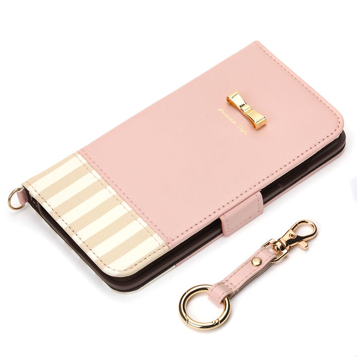 iPhone XS Max ケース Premium Style 手帳型ケース ストライプリボン ピンク iPhone XS Max_0