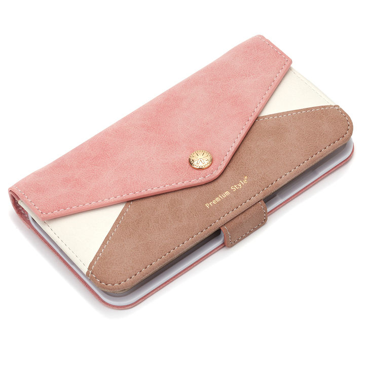 【iPhone XS Maxケース】Premium Style ダブル手帳型ケース レター型ポケット ピンク iPhone XS Max_0