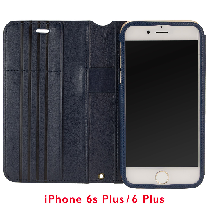 Su-Penホルダー付き 最薄 手帳型レザーケース ブルー for iPhone 6s Plus/6 Plus