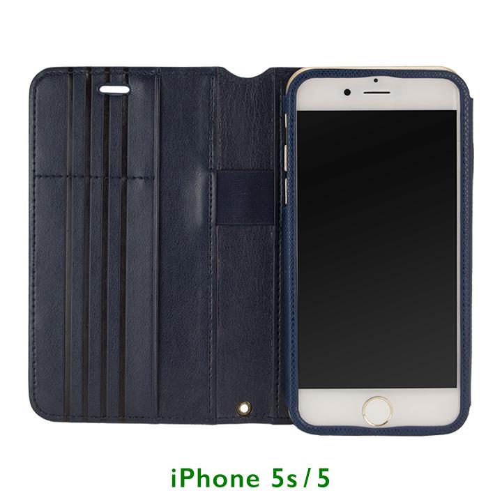 Su-Penホルダー付き 最薄 手帳型レザーケース ブルー  iPhone SE/5s/5