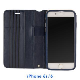 Su-Penホルダー付き 最薄 手帳型レザーケース ブルー  iPhone 6s/6