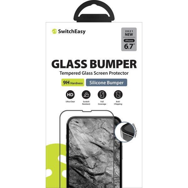 SwitchEasy Glass Bumper 3Dフルカバー強化ガラス Transparent iPhone 13 Pro Max【10月下旬】_0