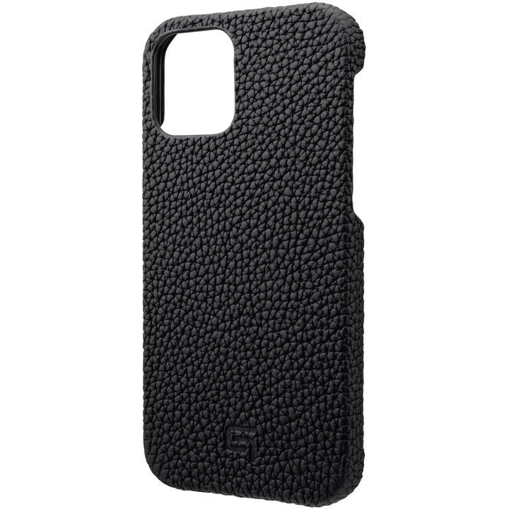 GRAMAS Shrunken-calf Leather シェルケース Black iPhone 12/iPhone 12 Pro_0