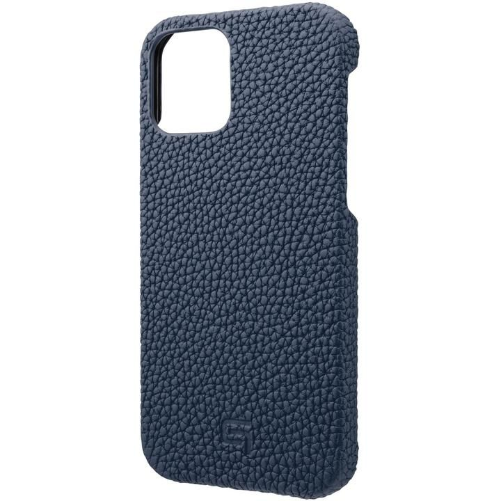 GRAMAS Shrunken-calf Leather シェルケース Navy iPhone 12/iPhone 12 Pro_0