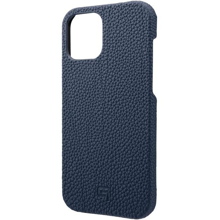 GRAMAS Shrunken-calf Leather シェルケース Navy iPhone 12 Pro Max_0