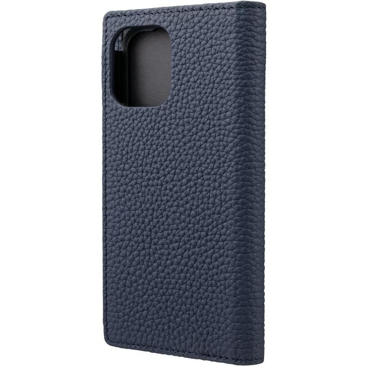 GRAMAS Shrunken-calf Leather 手帳型ケース Navy iPhone 12 mini_0