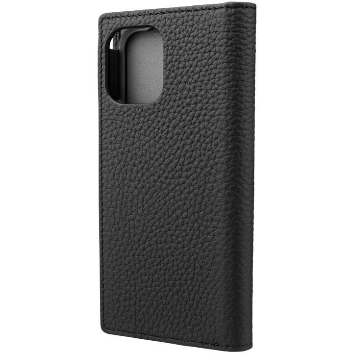 GRAMAS Shrunken-calf Leather 手帳型ケース Black iPhone 12 mini_0