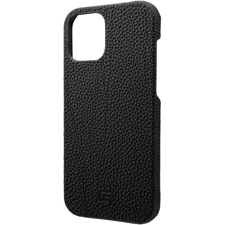 GRAMAS Shrunken-calf Leather シェルケース Black iPhone 12 Pro Max_0