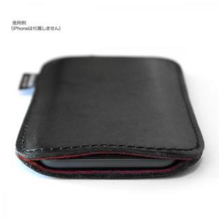 国立商店 職人が作るオイルドレザースリーブ ブラックxレッド iPhone 6 Plusケース