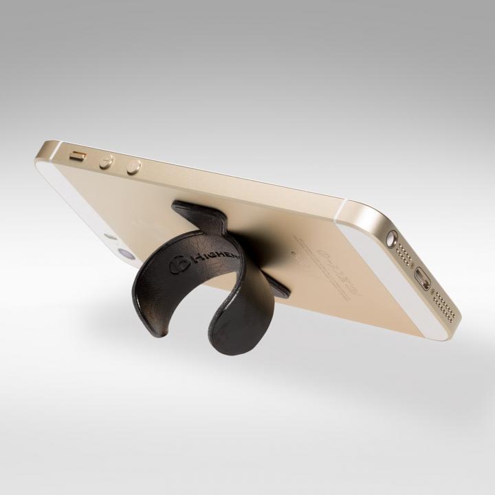 スマホの裏に付けられる スマートフォン用フックスタンド ブラック_0