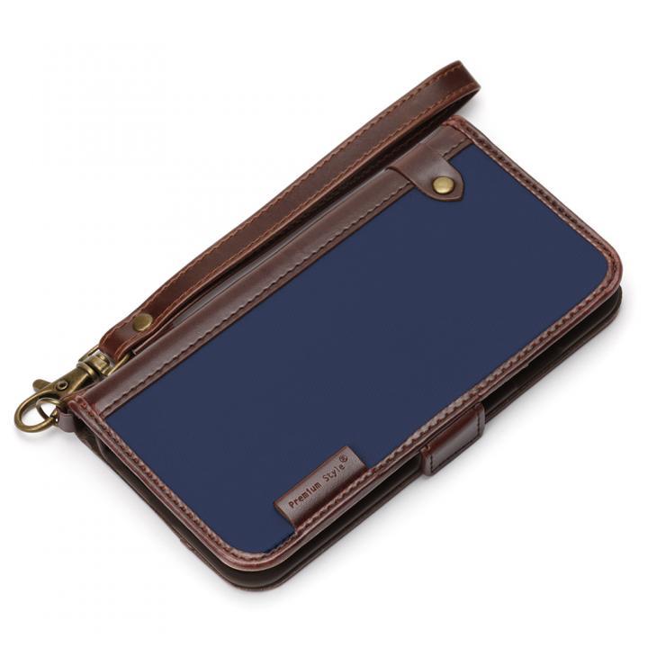 【iPhone6s/6ケース】Premium Style PUレザー手帳型ケース ナイロン ネイビー iPhone 6s/6_0