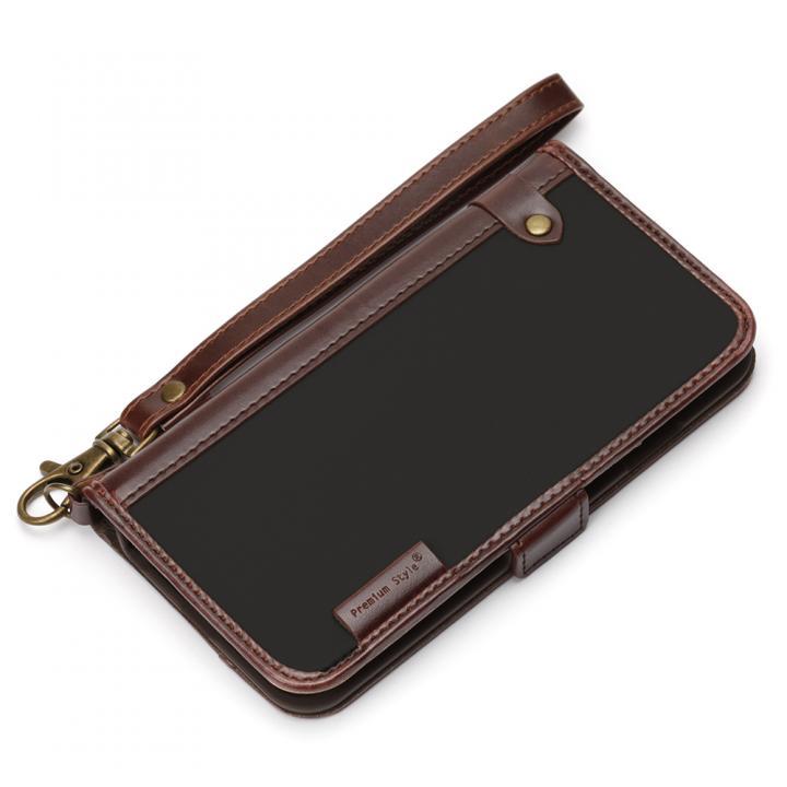 【iPhone6s/6ケース】Premium Style PUレザー手帳型ケース ナイロン ブラック iPhone 6s/6_0